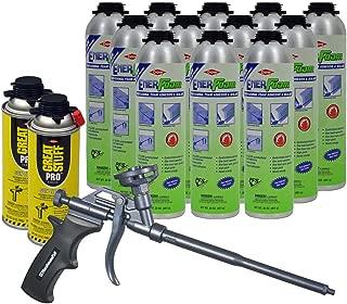 Dow Enerfoam 30oz Gun Dispensed Foam (12) + AWF Teflon Pro Foam Gun (1) + Great Stuff Pro foam Gun Cleaner (2)