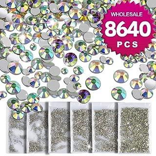 Teenitor 8640 Pcs- Wholesale Nail Crystal AB Rhinestone Decoration Timeless Lasting SS4 5 6 8 10 12 Round Iridescent Glass Flatback Glitter Bling Diamond Charms Gem Stone For 3D Nail Art Jewelry DIY