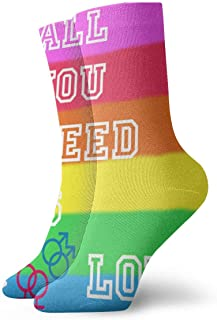 Luxury Calcetines de Deporte Rainbow LGBT Gay Pride Adult Short Socks Cotton Funny Socks for Mens Womens Yoga Hiking Cycling Running Soccer Sports