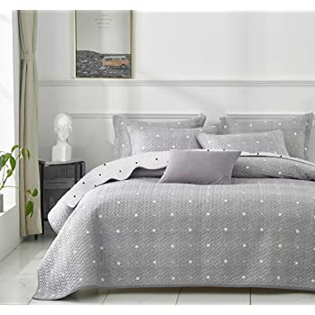 Uozzi Bedding 3 Piece Reversible Gray Dots & Cross Quilt Set King Size 102x90 Soft Microfiber Lightweight Coverlet Bedspread Summer Comforter Set Bed Cover Blanket for All Season