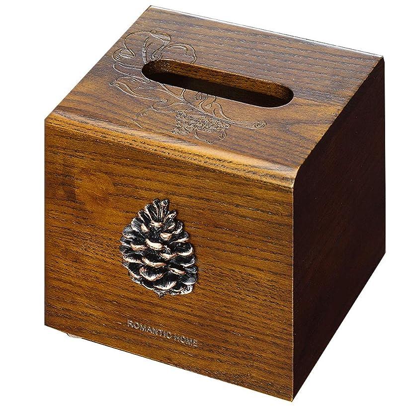 全体にひそかに拒絶キューブデザイン木製手作りティッシュボックスペーパータオルホルダースクエア木製タオルトレイで覆われた真鍮作業用リビングルーム寝室オフィス (Color : Brown)
