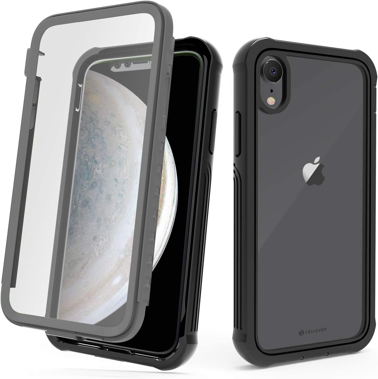 CellEver Compatible with iPhone XR Case, Heavy Duty Clear Full-Body Protective Transparent Cover with Soft Shock Absorbing TPU Bumper and Built-in Screen Protector - Black