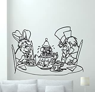 Alice in Wonderland Wall Decal White Rabbit Mad Hatter Vinyl Sticker Disney Cartoon Wall Art Design Housewares Kids Boy Girl Room Bedroom Decor Removable Wall Mural 19crt