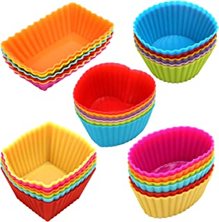 Cupcakes liners 30 Pack, Reusable Silicone Baking Cups, Nonstick Muffin Cake Molds, 5 Shapes 6 Color, for Making Gelatin, ...