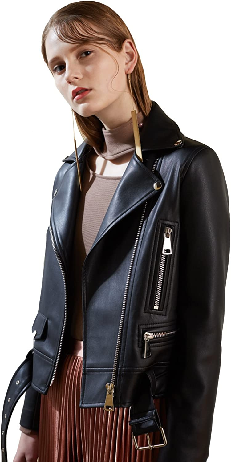 Fitaylor Women's Faux Leather Casual Short Jacket with Belt