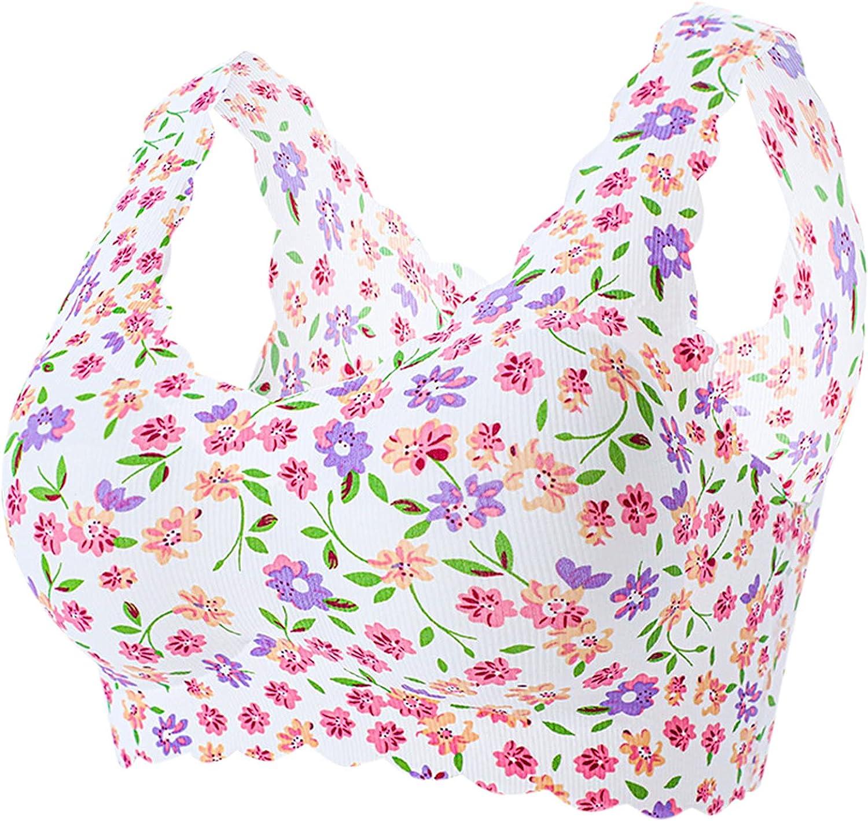 Xiloccer Women's Sexy Plus Size Bras Floral Printed Bra with Ice Silk Bra Compression Underwear Ladies Full Coverage Bra