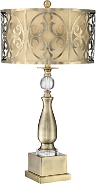 Doris Modern Table Lamp Candlestick Brass Clear Glass Cutout Openwork Double Drum Shade for Living Room Bedroom Bedside Nightstand Office Family - Possini Euro Design