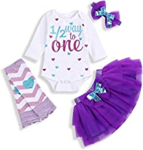 HAPPYMA Infant Baby Girl Outfits 1st Birthday One Long Sleeve Romper Top Ruffle Tulle Tutu Skirt Headband Leg Warmers Clothes Set