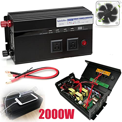 high quality 2000W Power Inverter 2 AC Outlets & new arrival 4 USB Ports Car Battery Connect Cables Built-in high quality Fuses Cooling Fan with Multiple Security Protection, 2 Year Warranty online sale