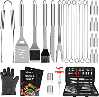 Anpro Grill Accessories BBQ Set Tools, 31 PCS Stainless Steel Grilling Accessories for Smoker&Camping, Barbecue Utensil Kit with Grill Mats and Meat Inject for Men, Women, Dad