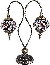 Turkish Mosaic Table Lamp for Bedside Lamp, Handmade Moroccan Glass Desk Lights Swan Neck Tiffany Style Bohemia Night Ligh...