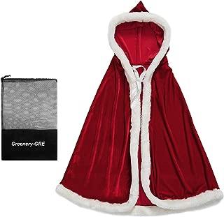 Women's Christmas Cloak Deluxe Velet Mrs Santa Claus Hooded Cape Robe Halloween Costume Red