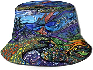 Fisherman Hat Psychedelic Trippy Bucket Hat Unisex 3D Printed Packable Bonnie Cap UV Protect Lightweight Sun Hat for Picnic Hunting Fishing Golf Hiking