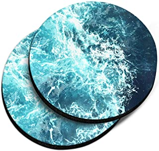 CARIBOU Coasters CB-WHTRDNC2-2-A2883, Blue Ocean Wave Design Absorbent Round Fabric Felt Neoprene Car Coasters for Drinks,...