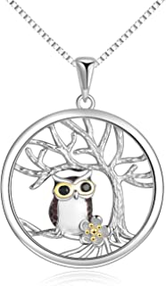 YFN Sterling Silver Tree of Life Necklace for Women, Owl Pendant Necklace Owl Gifts for Owl Lover Jewelry for Women