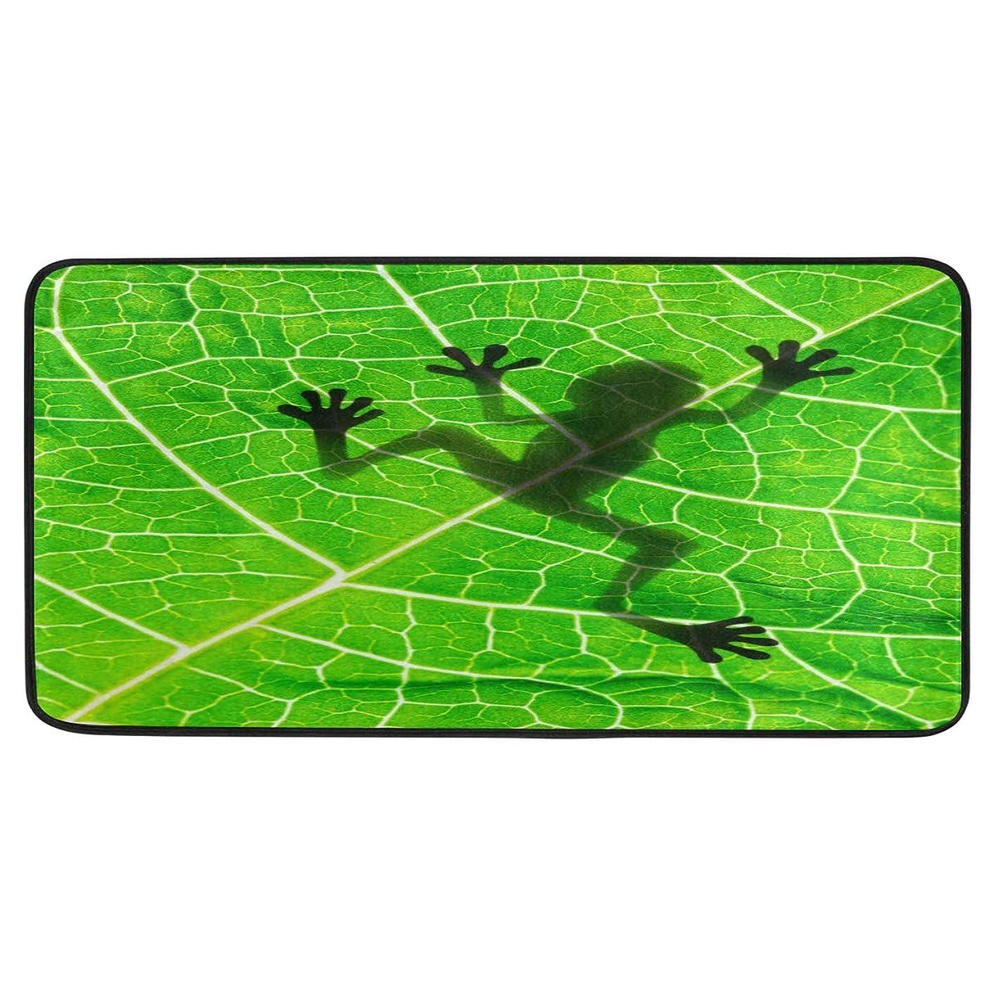 修正する農業のまた明日ねキッチンマット 廊下マット 台所マット 玄関マット カエル 葉 洗える 滑り止め 掃除易い 毛玉になりにくい