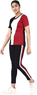 Shocknshop Cut and Sew Round Neck Tee & Pants Tracksuit Set for Women (WLEG131)