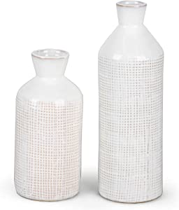TERESA'S COLLECTIONS Ceramic White Vases for Home Decor, Distressed Decorative Vase, Farmhouse Rustic Small Vase for Living Room, Mantel, Table Decoration, Set of 2, 10 inch