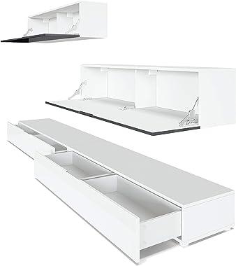 Vladon Combinaison Murale Armoire Nublo, Corps en Blanc Mat/Façades en Blanc Haute Brillance