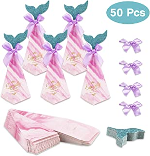 Hiverst 50pcs Mermaid Party Favors Box Sets, Nautical Wedding Candies Containers with Glitter Tail for Kids, Baby Shower Decorations, Birthday Party Gift Box for Goodies Supplies (Rose)