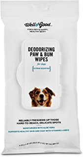Well & Good Deodorizing Paw and Bum Dog Wipes, Pack of 24 Wipes