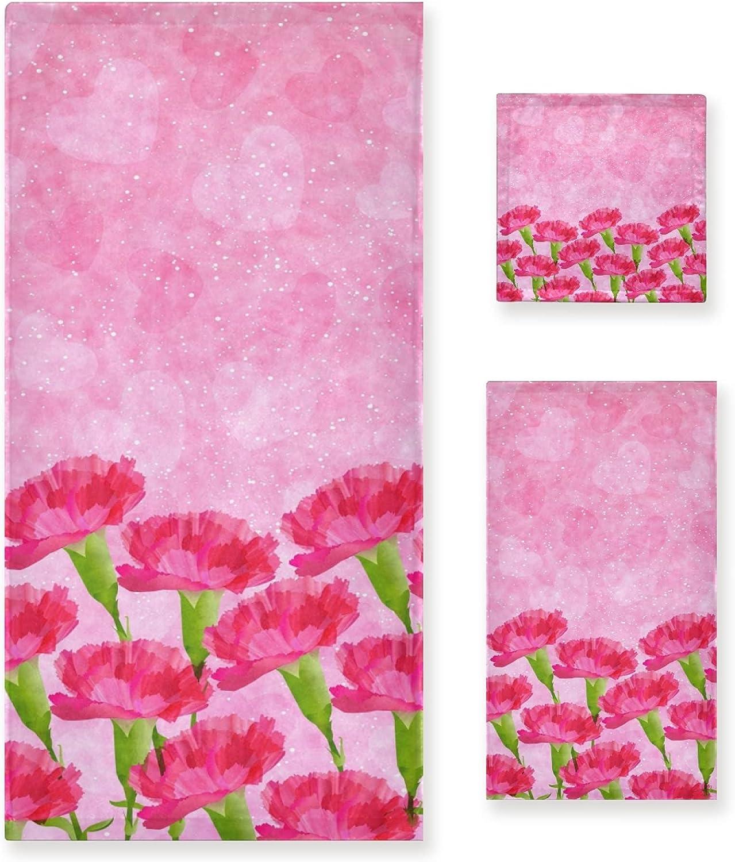 Kaariok Carnation Pink Flower Heart Soft Towels 3 of Cheap Los Angeles Mall Set Luxury