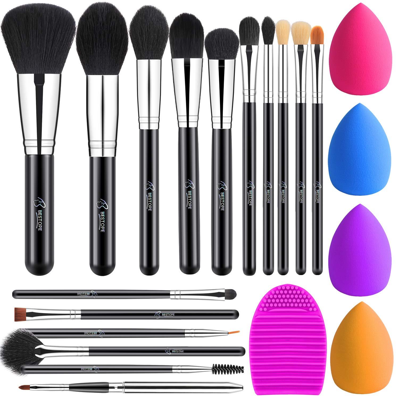BESTOPE 16Pcs Makeup Brushes Set Sponge Special Campaign 4Pcs Blender Cheap sale Beauty