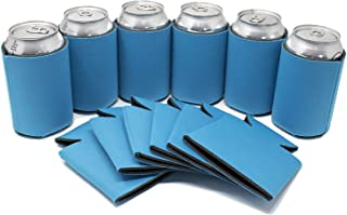 TahoeBay 25 Can Sleeves for Standard Cans Blank Poly Foam Beer Insulator Coolers (Neon Blue, 25)