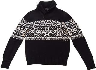 RALPH LAUREN Polo Mens Fair Isle Cotton Cashmere Blend Zip Shawl Collar Sweater Black