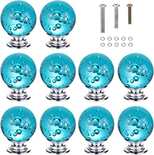HOMEIDEAS 10PCS 30MM Aqua Blue Bubbles Crystal Knobs Glass Cabinet Knobs Drawer Pulls Handle for Home, Cabinet, Drawer and Dresser, 3 Size Screws
