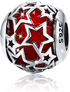 Abalorios de plata de ley 925 con forma de estrella de cristal rojo para pulseras de abalorios