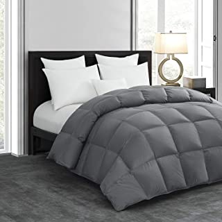 HOMBYS Luxurious Lightweight Goose Down Comforter King Size Duvet Insert Feather and Down Comforter 1000 TC SQ DM Hypoallergenic All Seasons 100% Cotton Cover Down Proof with Corner Tabs(King,Grey)