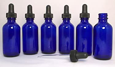 Premium Vials B37-6 Cobalt Glass Bottles for Essential Oils with Glass Eye Droppers, 2 oz Capacity, Blue (Pack of 6)