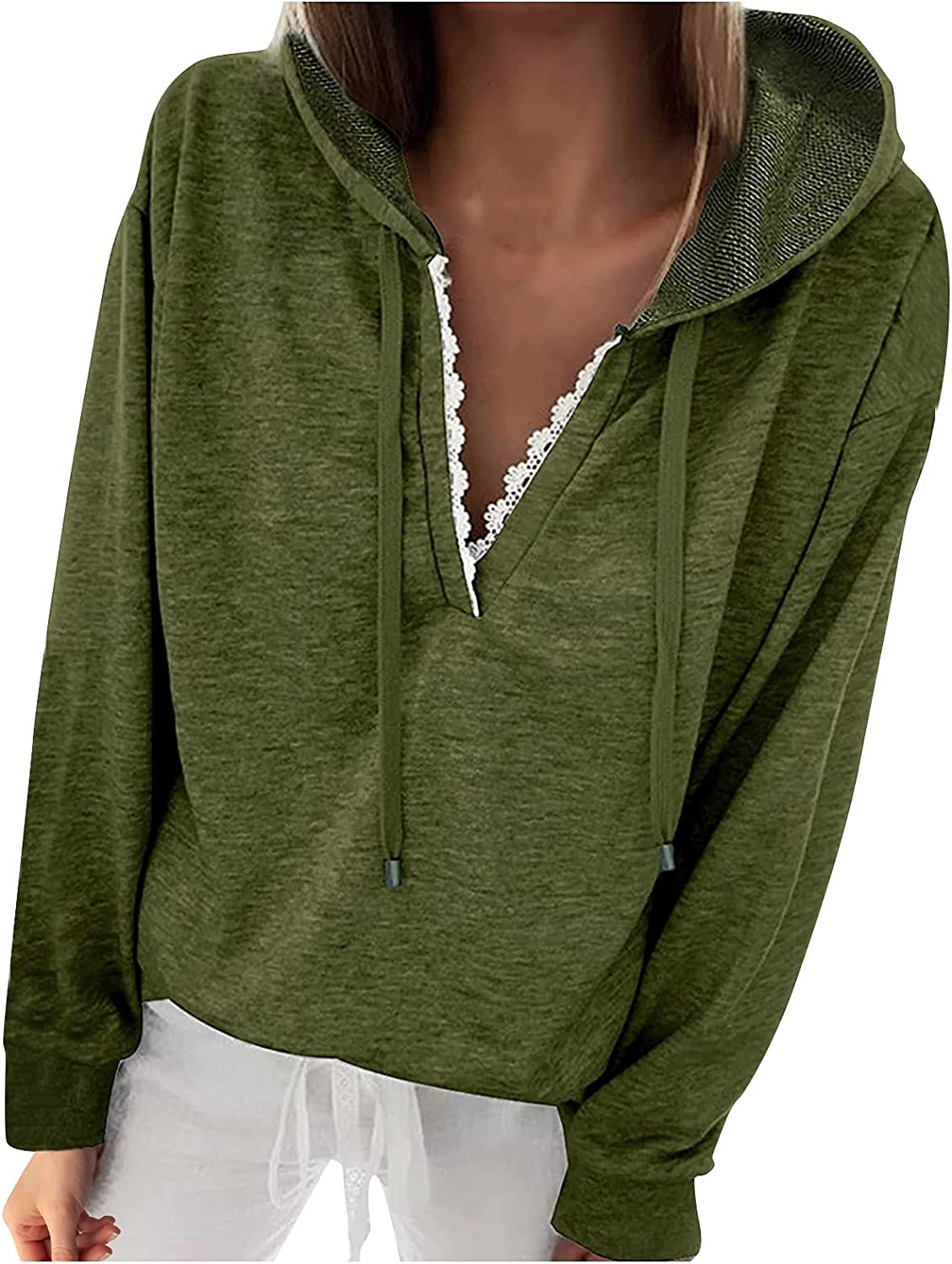 Super special Special price for a limited time price KOPLTYRFG Womens Hooded Solid Color Pullover Do Lace Tops Casual