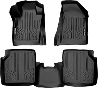 SMARTLINER Floor Mats 2 Row Liner Set Black for 2017-2020 Jeep Compass with Dual Driver Side Floor Hooks (New Body Style)