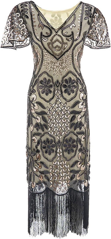Misaky Women V-Neck Short Sleeve Evening dress Vintage Tassels Hem Cocktail Flapper Dress Midi Length