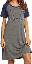 Ekouaer Women's Sleep Shirt Cute Sleepwear Printed Night Dress Short Sleeve Nightshirts S-XXL
