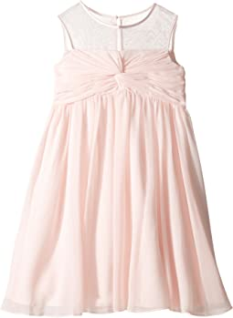 Sleeveless Illusion Neckline Chiffon Empire Dress (Big Kids)