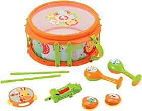 Fisher-Price – Rainforest Musical Band Drum Set, 9 Piece Drumset, Musical Instrument, Musical Toy, Toddlers, Ages 3+