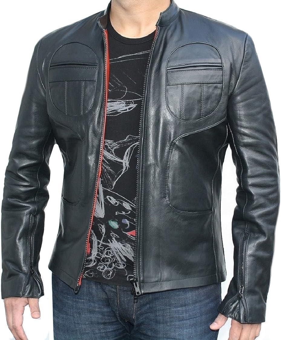 Classyak Men Fashion Genuine Sheep Leather Jacket Black Point