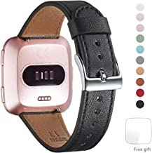 WFEAGL for Fitbit Versa Band, Top Grain Leather Band for Fitbit Versa/Versa 2 /Versa Lite/Versa SE Fitness Smart Watch(Black Band+Silver Buckle)