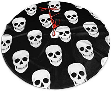 Gao808yuniqi Halloween Holiday Skull Christmas Tree Skirt 30 36 48 Inches, Party Decor Festive Holiday Ornaments Xmas Tree Skirt,Christmas Trees Mat Decorations Indoors
