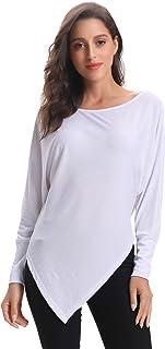 Abollria Women's Off Shoulder Knit Jumper Long Sleeve Pullover Fringed Hem Sweater