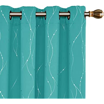 Deconovo Grommet Top Blackout Curtains Wave Line with Dots Foil Printed Light Blocking Window Draperies for Sliding Glass Door 52 x 84 Inch Turquoise 2 Panels