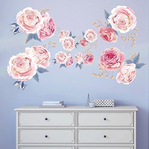 decalmile Stickers Muraux Fleurs des Roses Rose Romantique Amovible Autocollant Décoration Murale pour Salon Chambre ...