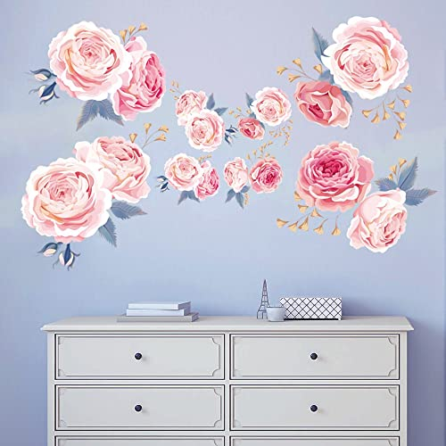Decalmile Pink Rose Wall Stickers Removable Flower Wall Decals Bedroom  Living Room Wall Art Decor