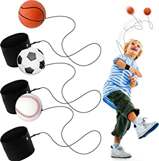 3 Pieces Sports Wrist Balls Bouncy Wrist Band Balls Includes Basketball Baseball Soccer Wristband Ball Toys for Sport Exer...