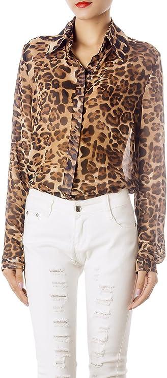 iB-iP Mujer Estampado Leopardo Tul Transparente Mangas Largas Botone Moda Camisa
