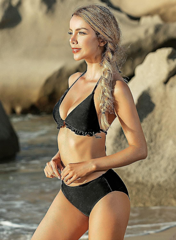 Upopby Women's Bikini Swimsuit Ruffled Flounce Triangle Halter Top Padded Push Up Two Piece Bathing Suit