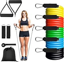 St. Mege 11 Pack Resistance Bands Set,Including 5 Stackable Exercise Bands with Door Anchor,2 Foam Handle,2 Metal Foot Ring & Carrying Case - Home Workouts,Physical Therapy,Gym Training,Yoga